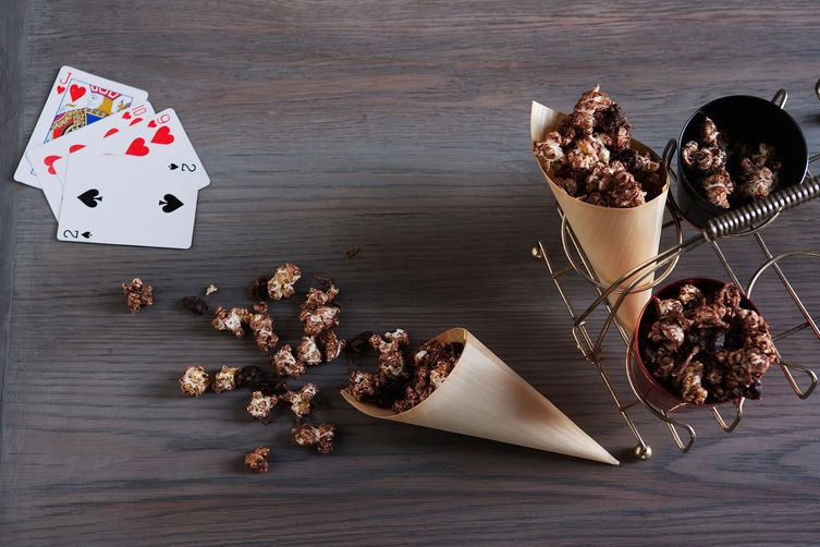 Chocolate and sour cherry popcorn clusters