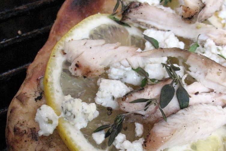 Grilled Meyer Lemon Pizza with Chicken, Goat Cheese and Thyme