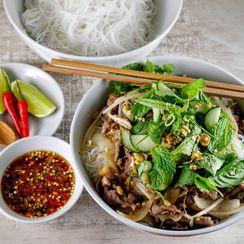 Vietnamese Lemon Grass Beef with Rice Noodles (Bún Bò Xào)