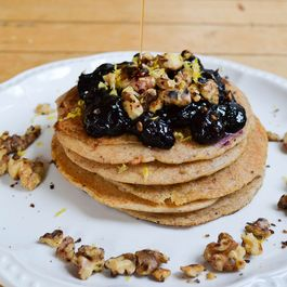 Meyer Lemon Pancakes with Blueberry Compote