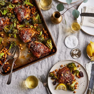 Sheet Pan Chicken With Broccoli, Chickpeas, and Parmesan