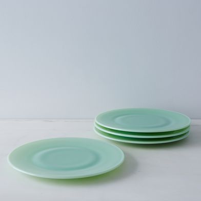 Jadeite Glass Dinner & Cake Plates (Set of 4)