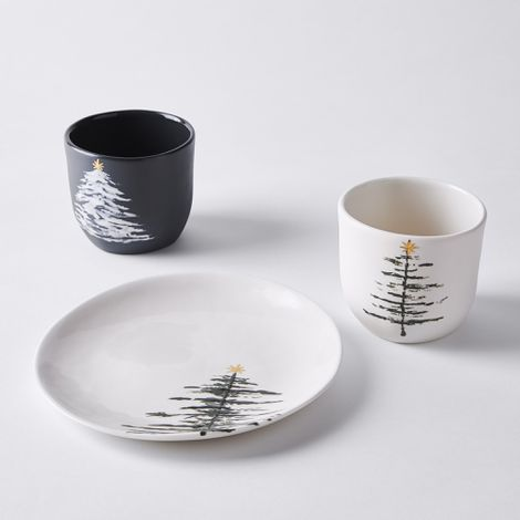 Handmade Holiday Tree Plate & Tumbler