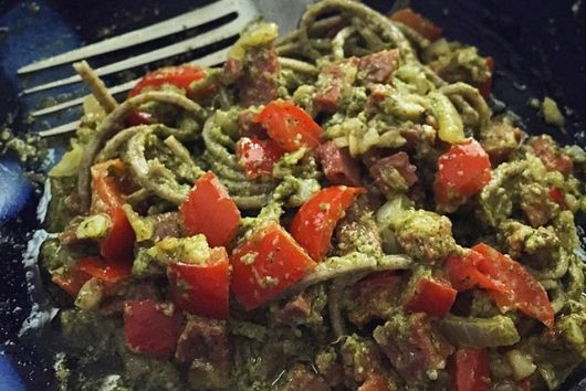 Buckwheat Soba Noodles with Parsley Arugula Pesto