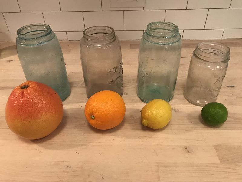 The dirty jars and citrus in all their glory. You can just see the grime.