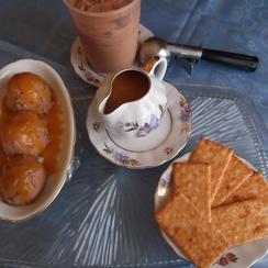 Easy Dulce de Leche-Chocolate Ice Cream Served With Orange Caramel Sauce