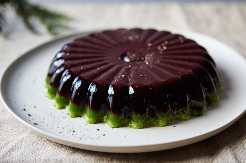 Modern-day Jello salad, Christmas colors not intentional.