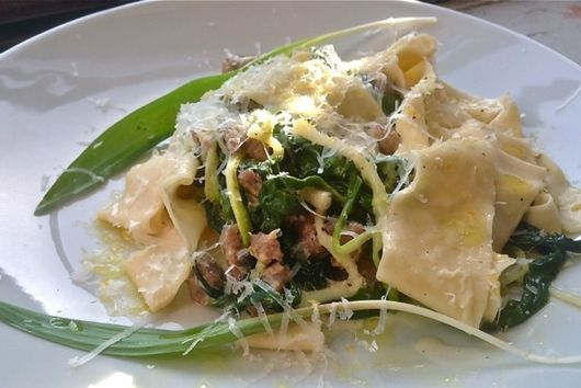 Parppardelle with wilted Ramps