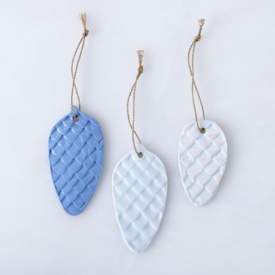 Porcelain Pinecone Ornaments (Set of 3)