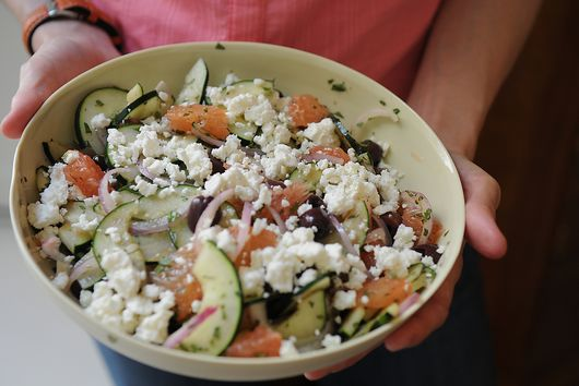 Red Grapefruit, Feta and Mint Salad