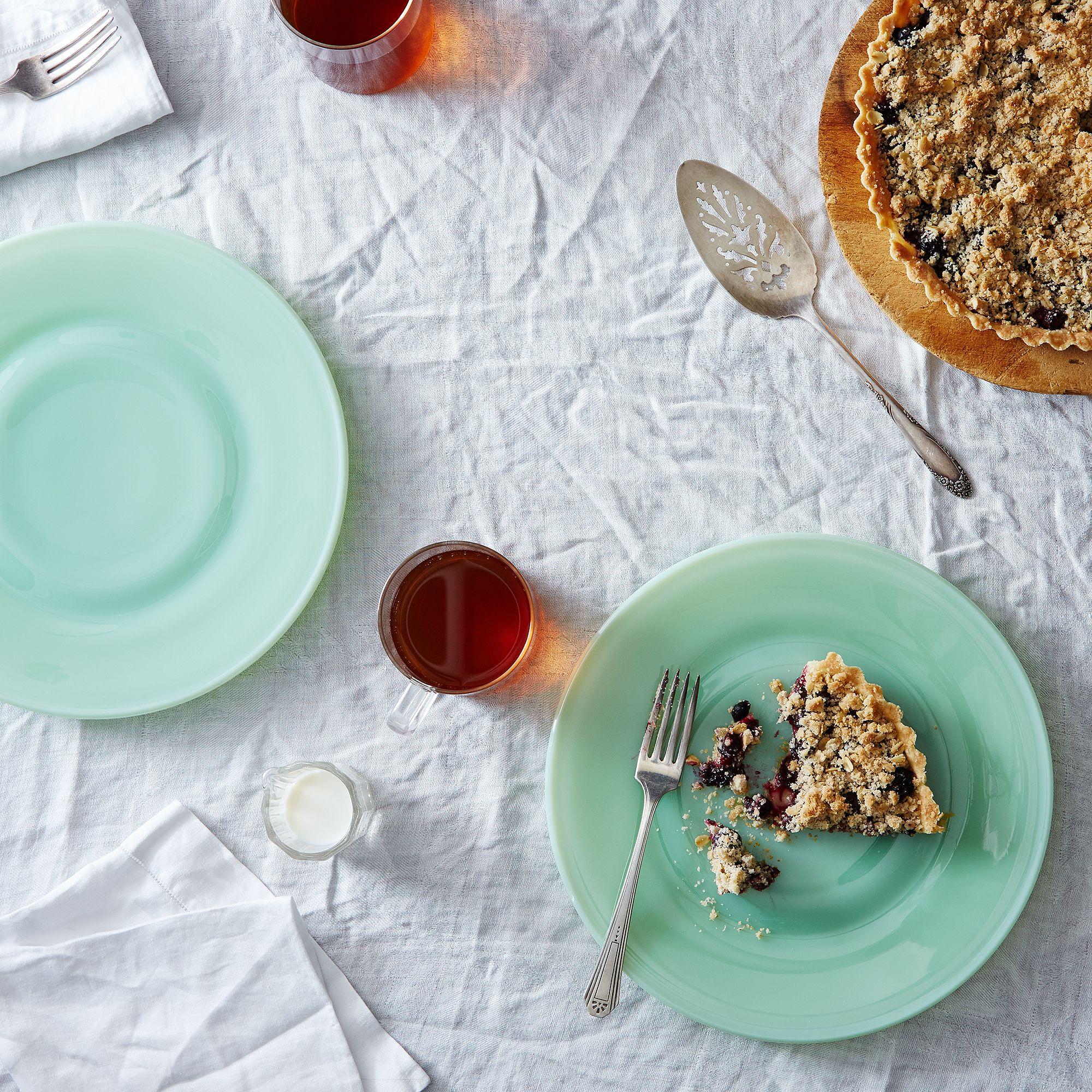 jadeite glass dinner  cake plates (set of ) on food -
