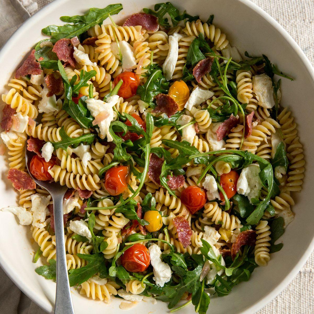 Pasta Salad With Crispy Salami & Cherry Tomato Vinaigrette