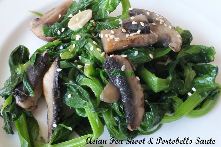Asian Pea Shoots & Portobello Mushroom with Toasted Sesame Seeds