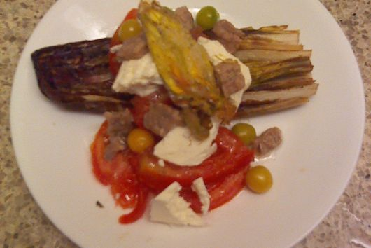 Sauteed radicchio summer salad with fried squash blossoms