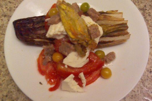 Sauteed radicchio summer salad with fried squash blossoms