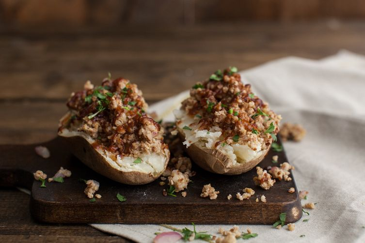 Barbecue Brown Rice Crumble Loaded Potatoes