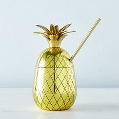 Large Brass Pineapple Tumbler with Straw