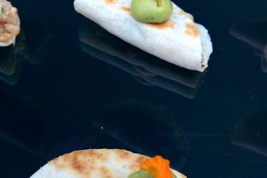 Mini Duck Quesadillas w/Avocado Crema