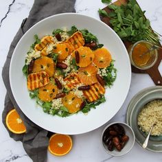 Orange, halloumi, date and bulgur salad