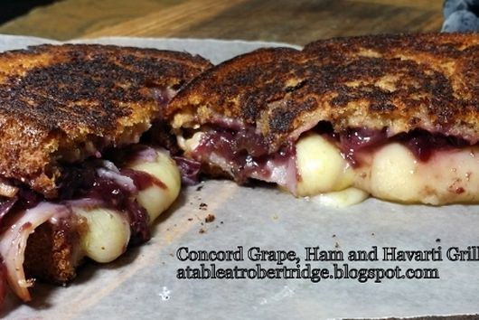 Concord Grape, Ham and Havarti Grilled Cheese