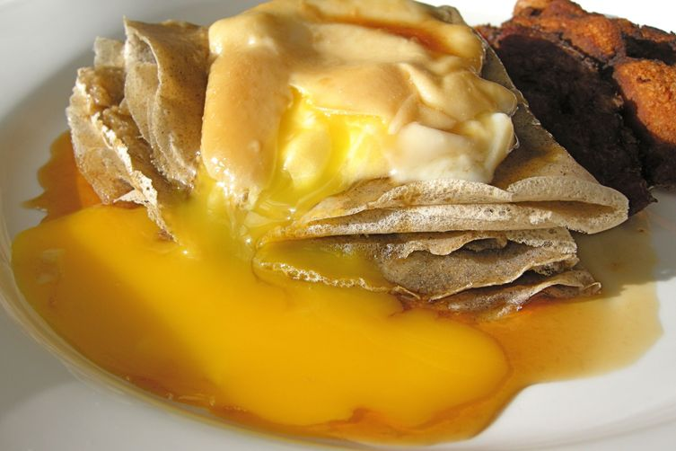 Maple poached eggs on buckwheat crepes
