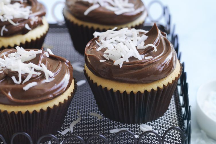 Lamington Cupcakes with Chocolate Ganache Icing