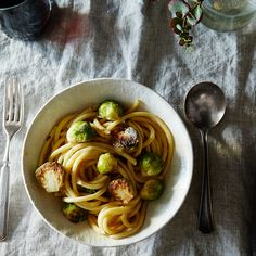 Creamy Bucatini with Seared Brussels Sprouts