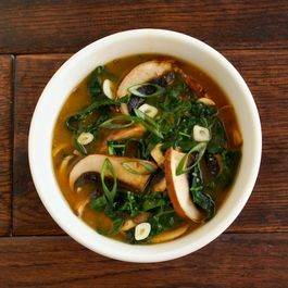 miso soup with mushrooms & greens