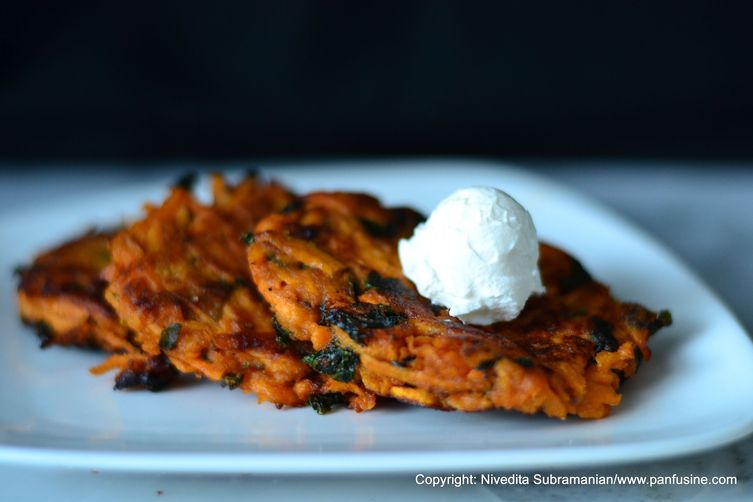 Sweet potato Latkes with wilted Fenugreek greens