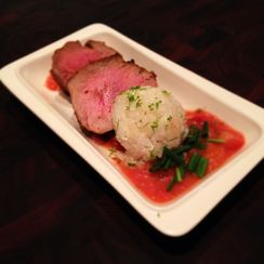 Curry Rubbed Pork Tenderloin with Strawberry Rhubarb Compote