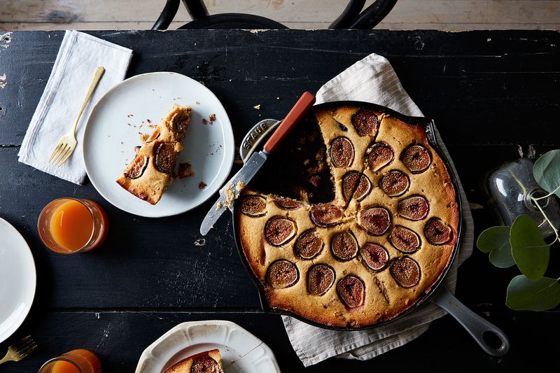 Cornbread Coffee Cake with Fresh Figs and Walnut Streusel