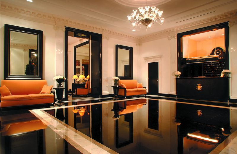 Draper's bold, signature black and white marble floor at the Carlyle Hotel in Manhattan