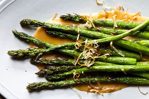 Fried Asparagus with Miso Dressing