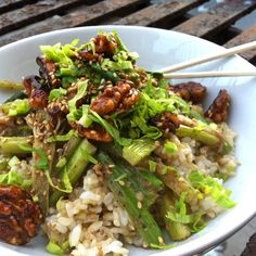 Celery & Scallions in Black Bean Sauce with Orange Honey Glazed Walnuts
