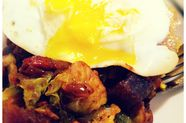Brussels Sprout and Chorizo Beer Hash