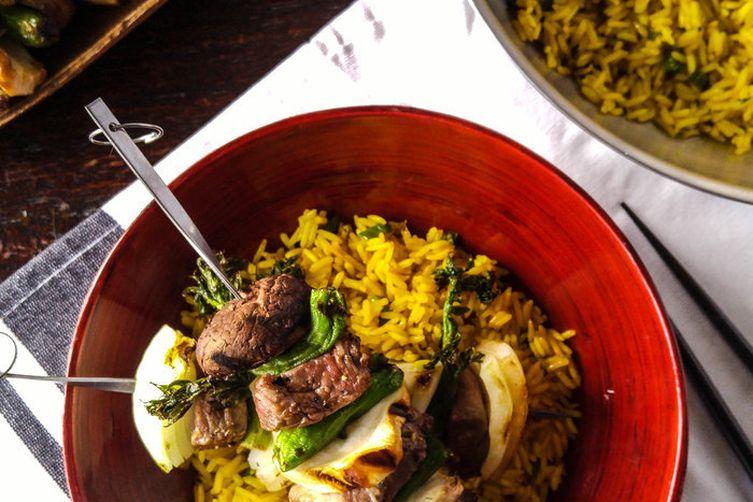 Beef Skewers and Jasmine Rice