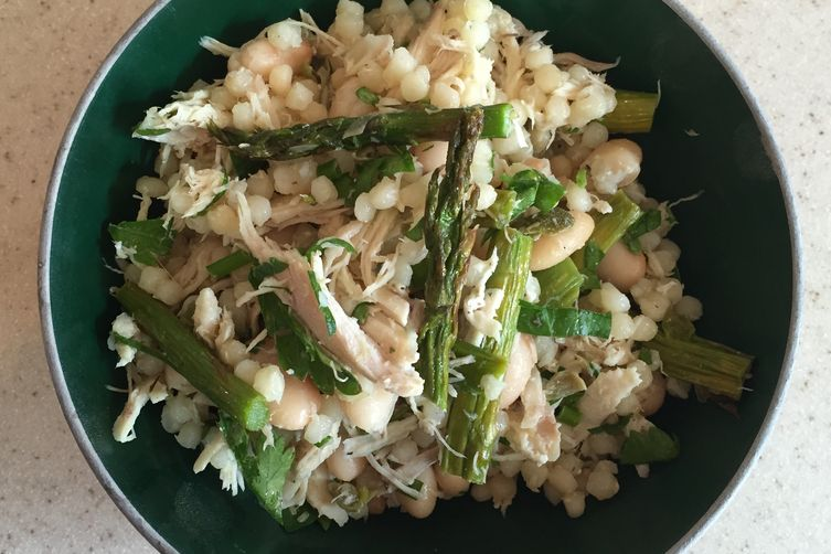 Pearl Couscous Chicken Salad with Roasted Asparagus and Herbs Recipe ...