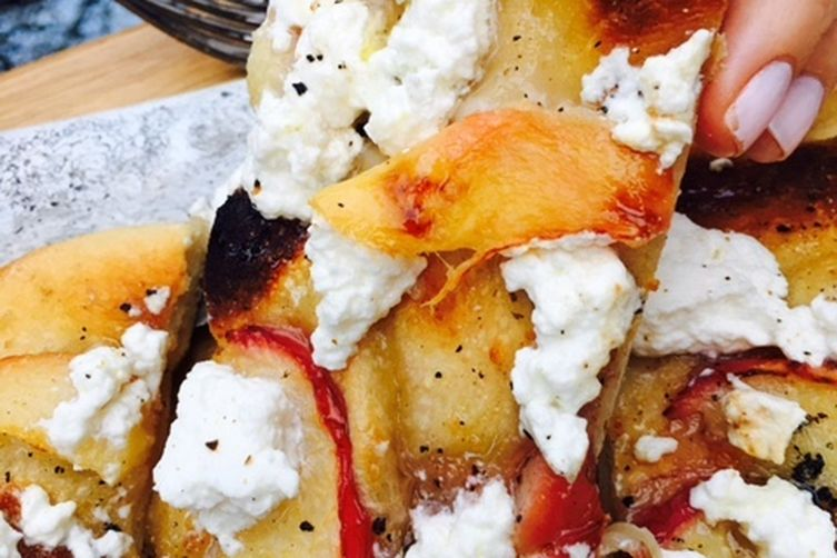 Fresh Ricotta and Peach Pizza with Honey Drizzle