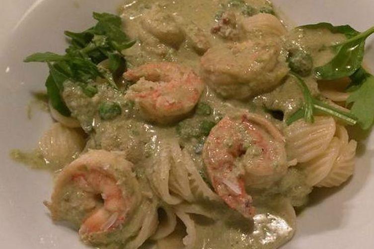 Orecchiette with shrimp, peas, and the good vinegar