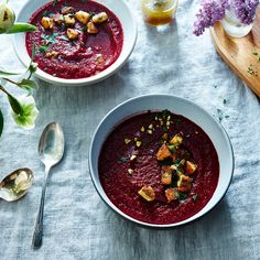 Roasted Beet Soup with Beet Green Polenta Croutons