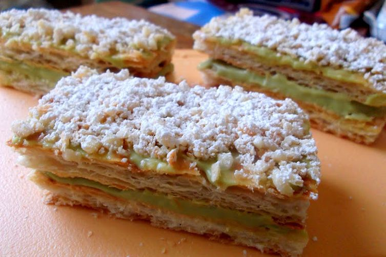 Napoleon Pastries Filled with Avocado Pastry Cream
