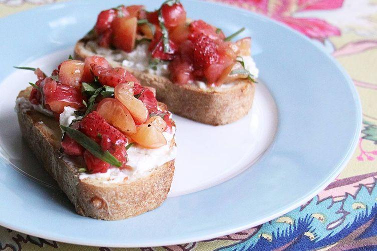 Pickled Strawberry Tartine