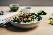 Rice Noodle Salad with Spring Vegetables and Tahini-Lime Dressing