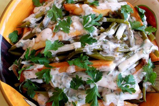 Warm Mayo-Dijon Roasted Potato Salad with Haricot Verts