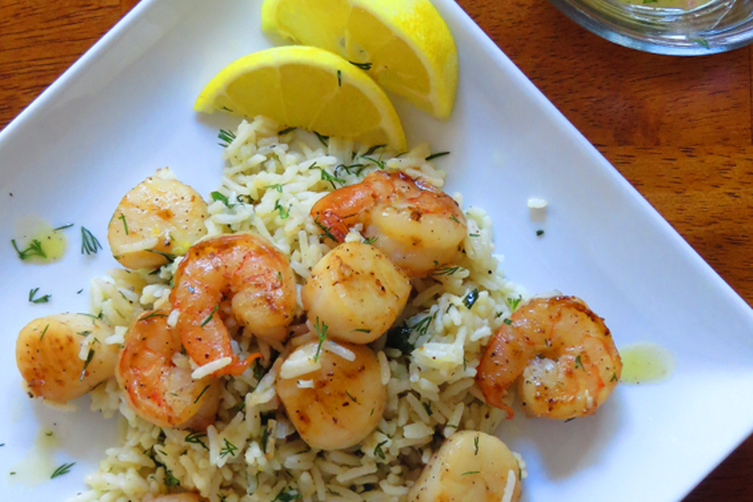 Shrimp, Scallops & Dill Rice with Lemon Mustard Vinaigrette Recipe on ...