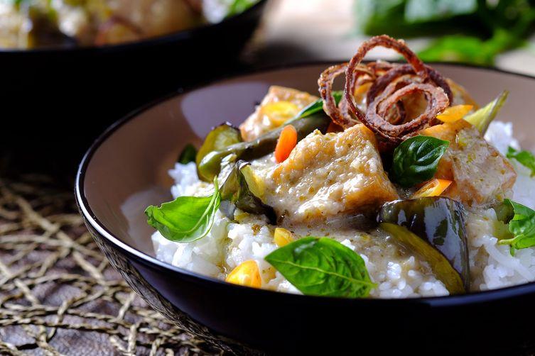 Tofu and Eggplant Green Curry
