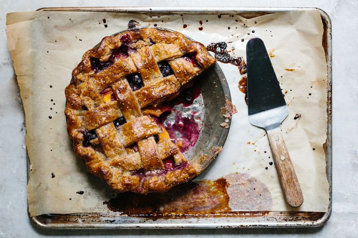 Lattice-Top Peach and Blueberry Pie with Rye Crust from Food52