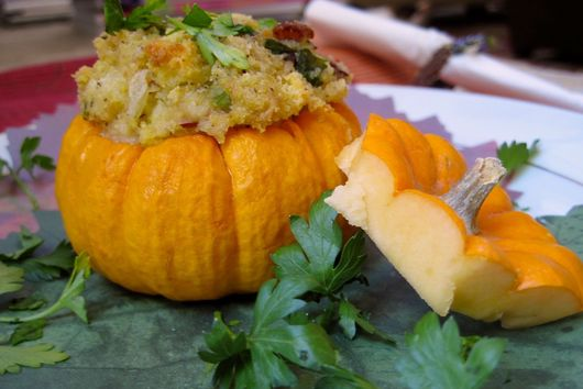 Traditional Southern Biscuit Stuffing in Party Pumpkin Cups