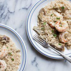Shrimp and artichoke risotto