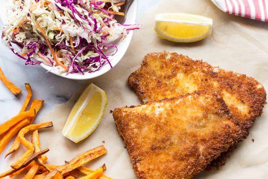 Panko Crusted Barramundi with Sweet Potato Oven Fries + Vinegar Slaw